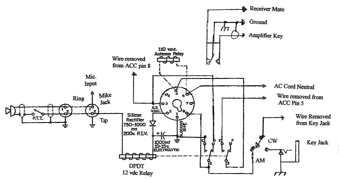 The AM Window: Tech: Mods: PTT for the DX-60B Heathkit Dx Schematic on
